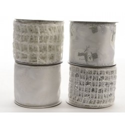 Nastro decorato bianco silver. Pezzo Singolo