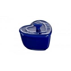Mini Cocotte Cuore 8 cm Blu Scura Set di 2 in Ceramica