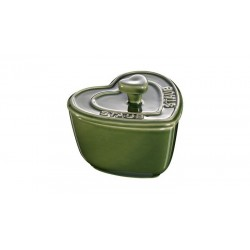 Mini Cocotte Cuore 8 cm Verde Basilico Set di 2 in Ceramica