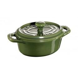Mini Cocotte Ovale 11 cm Verde Basilico in Ceramica
