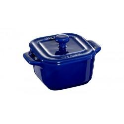 Mini Cocotte Quadra 8 cm Blu Scura Set di 2 in Ceramica