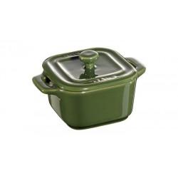 Mini Cocotte Quadra 8 cm Verde Basilico Set di 2 in Ceramica