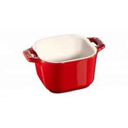 Mini Ramekin Quadro 8 cm Rosso Set di 2 in Ceramica