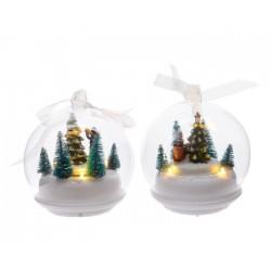 Paesaggio di Natale con luci da appendere. Pezzo Singolo
