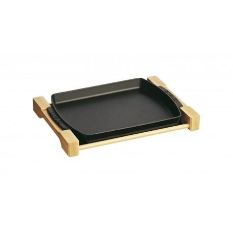 teglia con supporto in legno 33 x 23 cm nero in ghisa. Black Bedroom Furniture Sets. Home Design Ideas