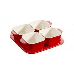 Set Aperitivo 19 x 19 cm Rosso Set di 5 in Ceramica