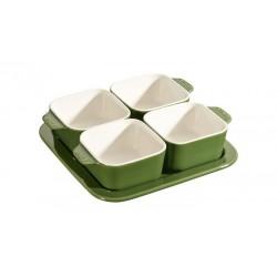 Set Aperitivo 19 x 19 cm Verde Basilico Set di 5 in Ceramica