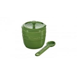 Zuccheriera con Cucchiaio 9 cm Verde Basilico in Ceramica