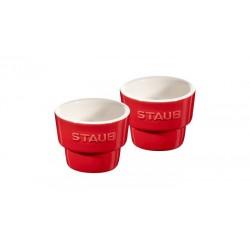Porta Uova Rosso Set di 2 in Ceramica