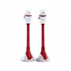 Polar Bear Street Lamp Set of 2 B/O 4.5V Cod. 74230