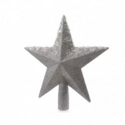 Puntale a Stella Argento 20 cm per Albero di Natale