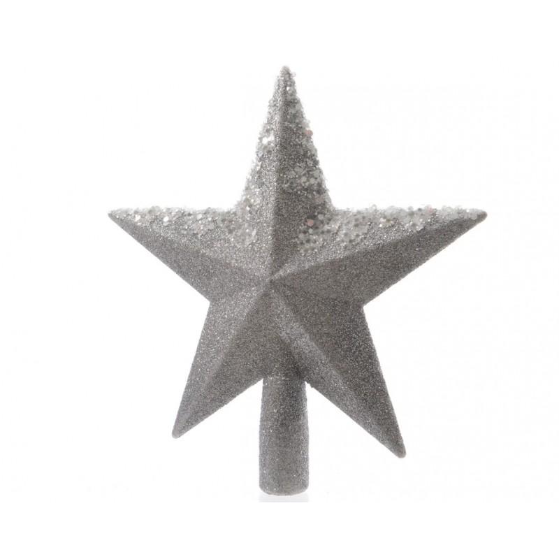 Puntale A Stella Per Albero Di Natale.Puntale A Stella Argento 20 Cm Per Albero Di Natale