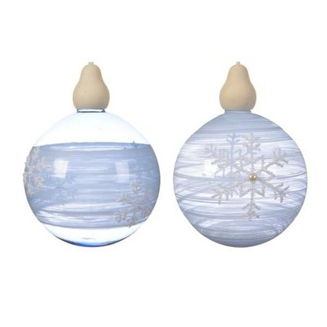 Pallina da Appendere con Fiocchi di Neve Blu 10 cm. Pezzo Singolo