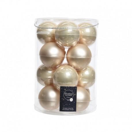 Palline di Natale da Appendere in Vetro 8 cm Perla. Set di 16