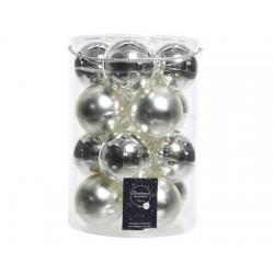 Palline di Natale da Appendere in Vetro 8 cm Argento. Set di 16