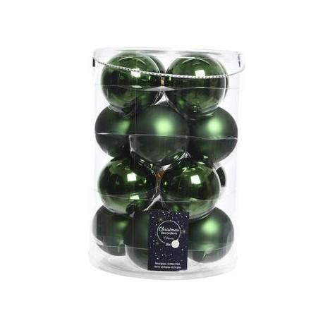 Palline di Natale da Appendere in Vetro 8 cm Verde. Set di 16