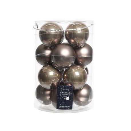 Palline di Natale da Appendere in Vetro 8 cm Marrone. Set di 16
