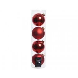 Palline di Natale da Appendere in Vetro 10 cm Rosso Natale. Set di 4