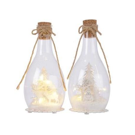 Bottiglia di Vetro con Led 22 cm. Pezzo Singolo