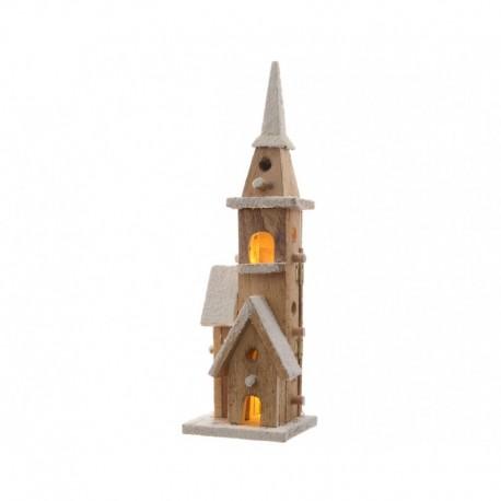 Chiesa in Legno con Led 40 cm 10 Led