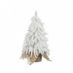 Mini Albero di Natale Innevato con Glitter e Sacco in Juta 27 cm