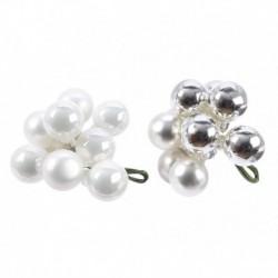 Grappolo 10 Palline di Natale Bianco o Argento 2 cm. Pezzo Singolo