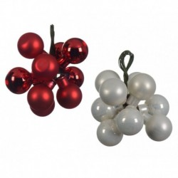 Grappolo 10 Palline di Natale Rosso o Perla 2 cm. Pezzo Singolo