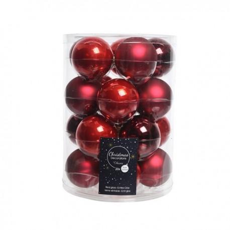 Palline di Natale da Appendere in Vetro 6 cm Rosso. Set di 20