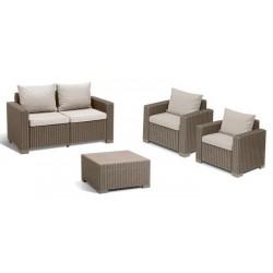 Keter Set Lounge CALIFORNIA Cappuccino Divano + 2 Poltrone con Braccioli + Tavolino