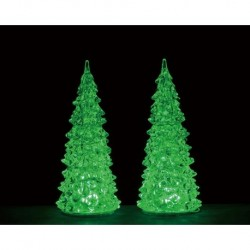 Crystal Lighted Tree, 3 Color Changeable, Medium, Set Of 2, B/O (4.5V) Cod. 94517
