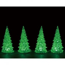 Crystal Lighted Tree, 3 Color Changeable, Small, Set Of 4, B/O (4.5V) Cod. 94518