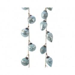 Ghirlanda di palline in vetro Blu Artic dim 6x120 cm Pezzo Singolo