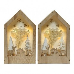 Casa con scena natalizza luminosa Bianco dim 5x15x26 cm-5L Pezzo Singolo