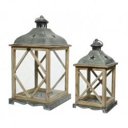 Lanterna in legno con vetro grande Naturale dim 27x51 cm