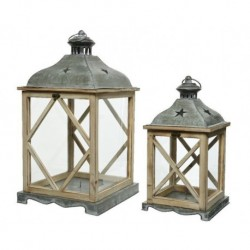 Lanterna in legno con vetro media Naturale dim 19x36 cm