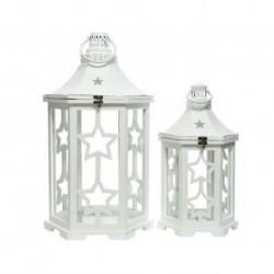 Lanterna in legno con vetro grande Bianco dim 35x30x62 cm