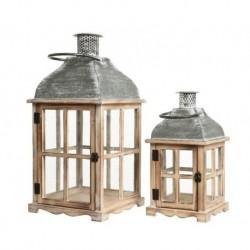 Lanterna in legno con vetro grande Grigio Washed dim 28x28x57 cm