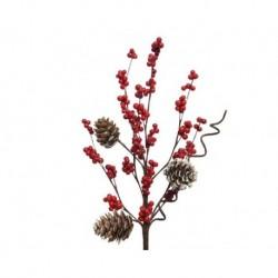 Ramo con bacche rosse e pigne Rosso dim 5x15x30 cm