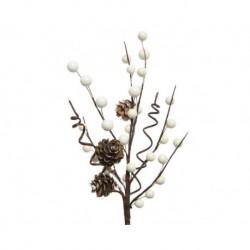 Ramo con bacche e pigne Bianco dim 7x15x30 cm