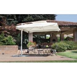 Ombrellone Quadrato 3 x 3 mt Contract Fusto Bianco Con Palo Laterale
