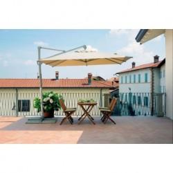 Ombrellone Quadrato 3 x 3 mt Contract Fusto Argento Con Palo Laterale E Maniglione