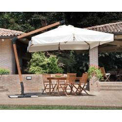 Ombrellone Quadrato 3 x 3 mt De Lux In Legno Con Palo Laterale