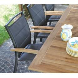 Sedia Minorca Impilabile Con Braccioli In Teak E Alluminio