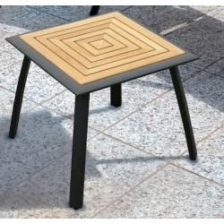 Tavolino 50 x 50 cm In Teak E Alluminio