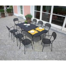 Tavolo Ginevra Allungabile 150/200 x 90 cm In Ferro Con Vernice Antiruggine