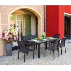 Tavolo Terracina 180 x 90 cm In Alluminio Con Piano In Vetro Stone Glass