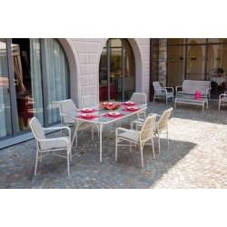 Dining Set Camargue Con Piano In Vetro Temperato