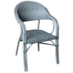Sedia Impilabile In Alluminio E Wicker Color Grigio