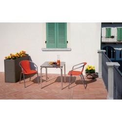 Tavolo Impilabile 70 x 70 cm Con Bordo Arrotondato