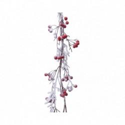 Ghirlanda con Bacche Rosse e Neve 130 cm